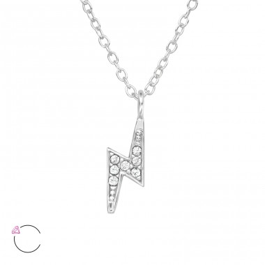 Lightening With Swarovski® Crystals - 925 Sterling Silver Swarovski Silver Necklaces A4S39886
