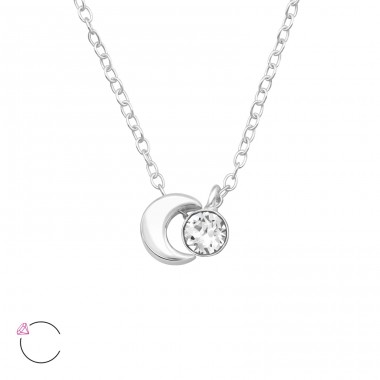Moon - 925 Sterling Silver Swarovski Silver Necklaces A4S40238