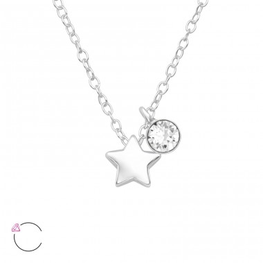 Star with stone With Swarovski® Crystals - 925 Sterling Silver Swarovski Silver Necklaces A4S40239