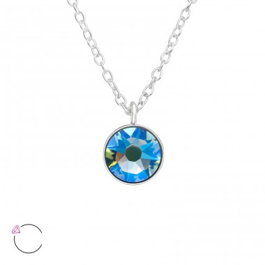 Round - 925 Sterling Silver Swarovski Silver Necklaces A4S40998