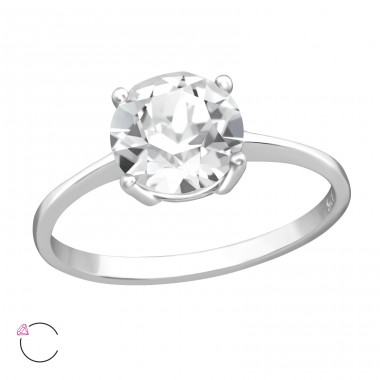 Big round - 925 Sterling Silver Rings With Swarovski crystal A4S38745