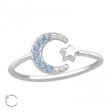Moon & Star - 925 Sterling Silver Swarovski Rings A4S39441