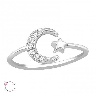 Moon & Star - 925 Sterling Silver Swarovski Rings A4S39442